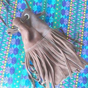 Suede Fringe Purse   Leather Hippie Handbag  